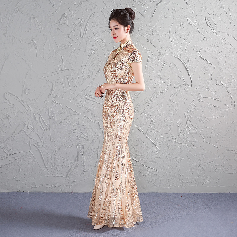 Gold chinese traditional dress modern qipao wedding for Modern house dress