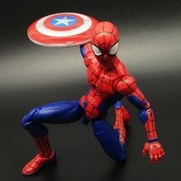 Exclusive Marvel Movies Spider Man Homecoming Spiderman With Captain Shield Venom PVC Collectible Jointed Doll Model