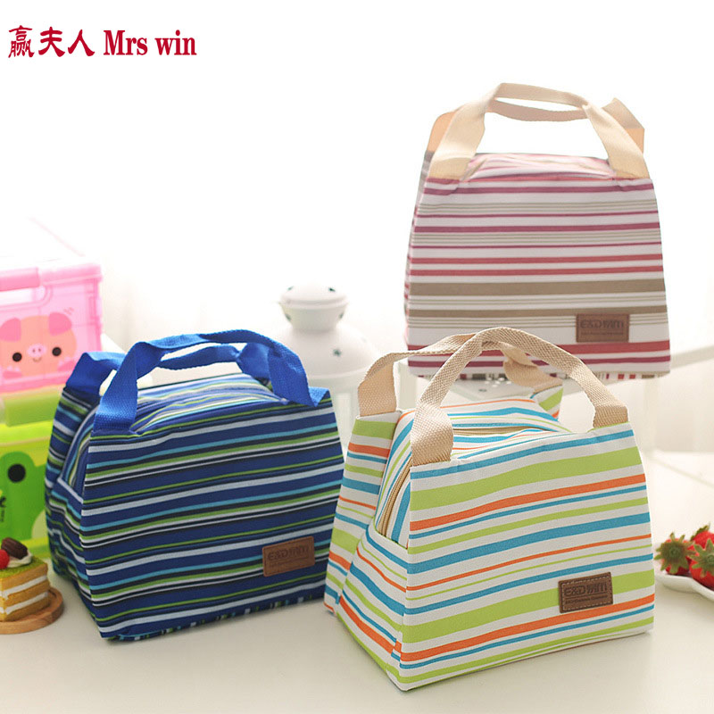 Free shipping New 2017 Lunch Bags for Women Striped Insulated Thermal Food Picnic Bags Kids Men Cooler Lunchbox Tote WCB14