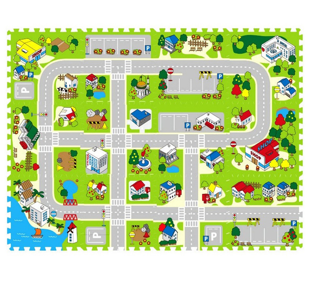 New EVA City Road Baby Play Mat Interlocking Exercise Floor Childern  Carpets Kids Puzzle Rug Toys