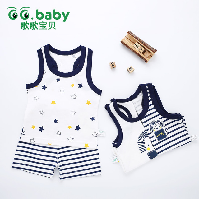 Baby Girl Boy Summer Clothes Set Sleeveless Baby Boy Vest Sets Tshirt Newborn Clothes Outfits Summer Suit For Boy Navy Clothing 2
