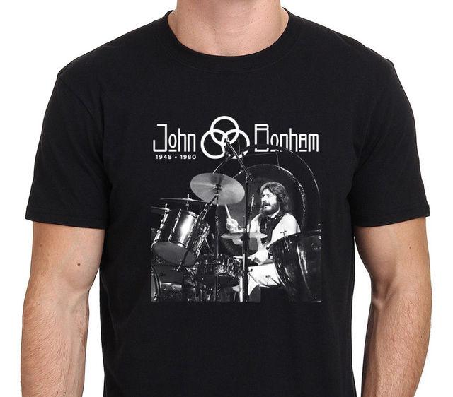 425624323 2018 Camisas de Algodão de Manga Curta Homem Roupas Led Zeppelin JOHN  BONHAM Lenda Baterista T