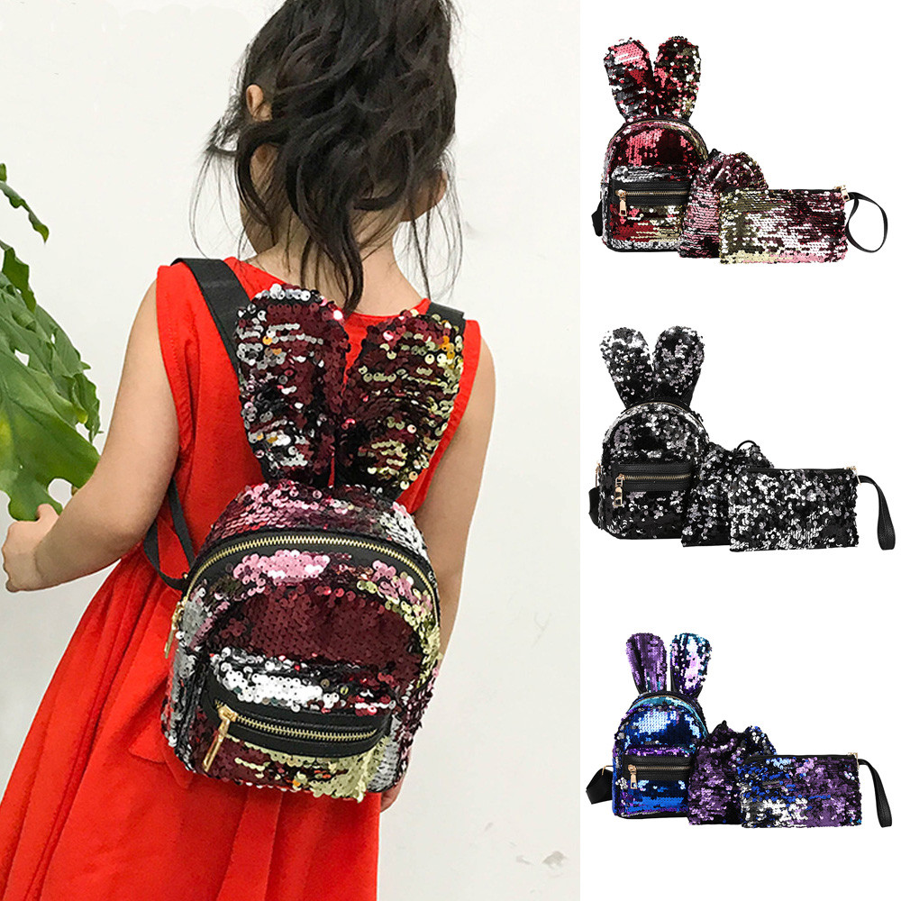 anti-theft backpack 3Pcs Fashion Student Children Sequins Backpacks+Drawstring Bag+Small Bag Preppy Style Soft  Teenage