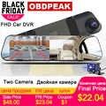 Super Car DVR Dash Cámara blanco espejo 4,3 pulgadas HD 1080P inglés ruso doble Len cámara de visión trasera espejo retrovisor Auto grabadora