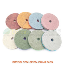 DIATOOL 8pcs/pk 4inch Sponge Diamond Polishing Pads for soft stone marble artificial Stone Dia 80mm workable thickness 10mm
