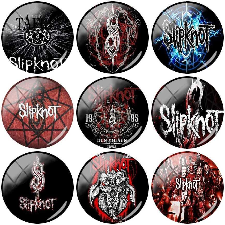 Tafree Slipknot Music Band Gambar 25 Mm Kaca Cabochon untuk Kalung Bros Gantungan Kunci Fashion Panas Temuan Perhiasan