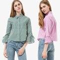 Novo ocasional flare manga mulheres blusas turn-down colarinho da camisa listras dioufond curto tops blusa de manga três quartos das mulheres topos