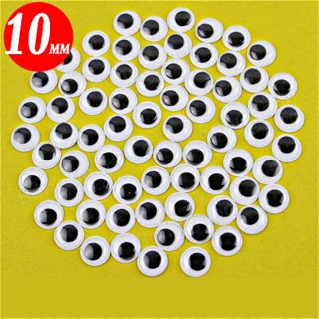 100 Adet 10mm 3D Wobbly Gözler Bebek DIY El Sanatları Yapışkan Oyuncak Kart Yapımı Scrapbooking Yapıştırıcı Plastik