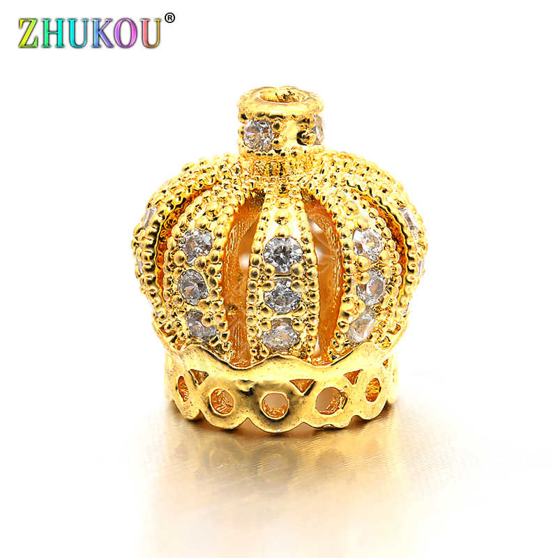 10*11mm Brass Cubic Zirconia Tassel Cap Pendant Charms for Diy Jewelry Findings, Mixed Color, Hole: 1mm, Model:VM8