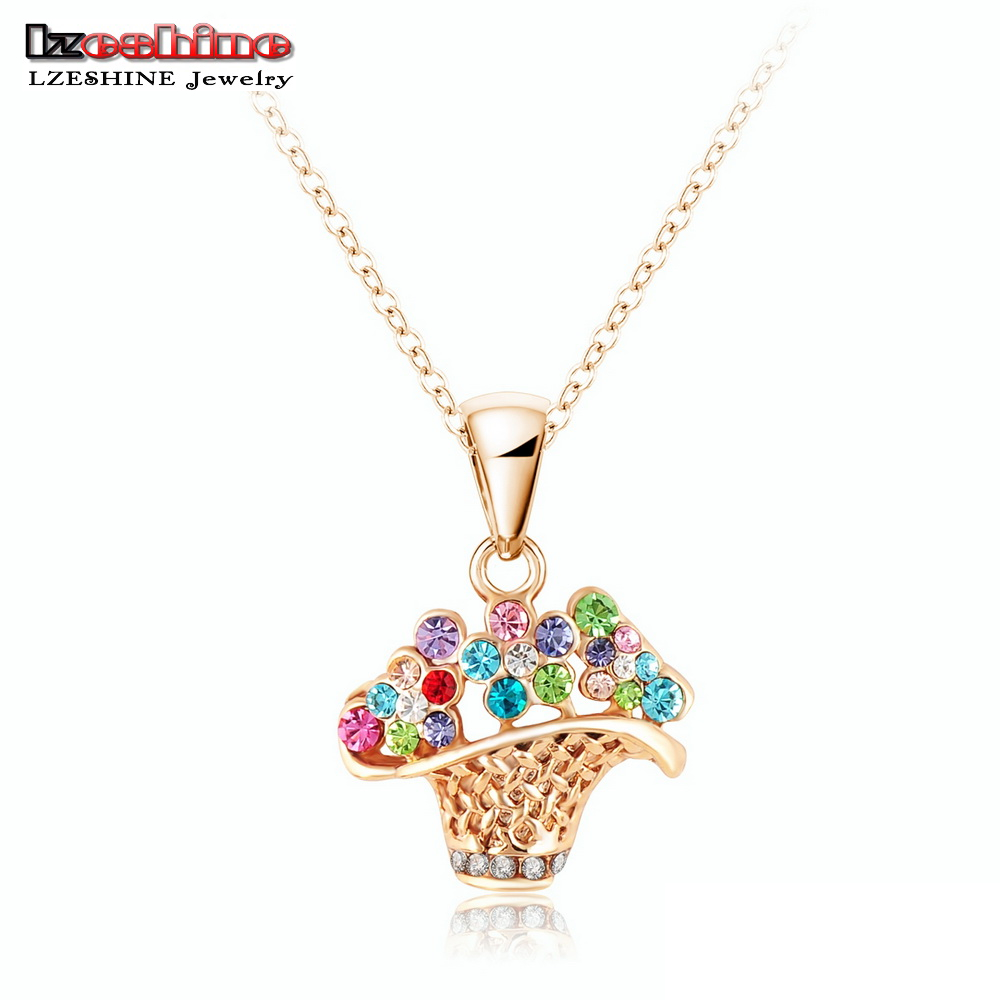 Online get cheap flower girl gift baskets aliexpress lzeshinen lovely girls pendants amp necklaces gold plated flower basket shape necklace 2015 new year dhlflorist Image collections