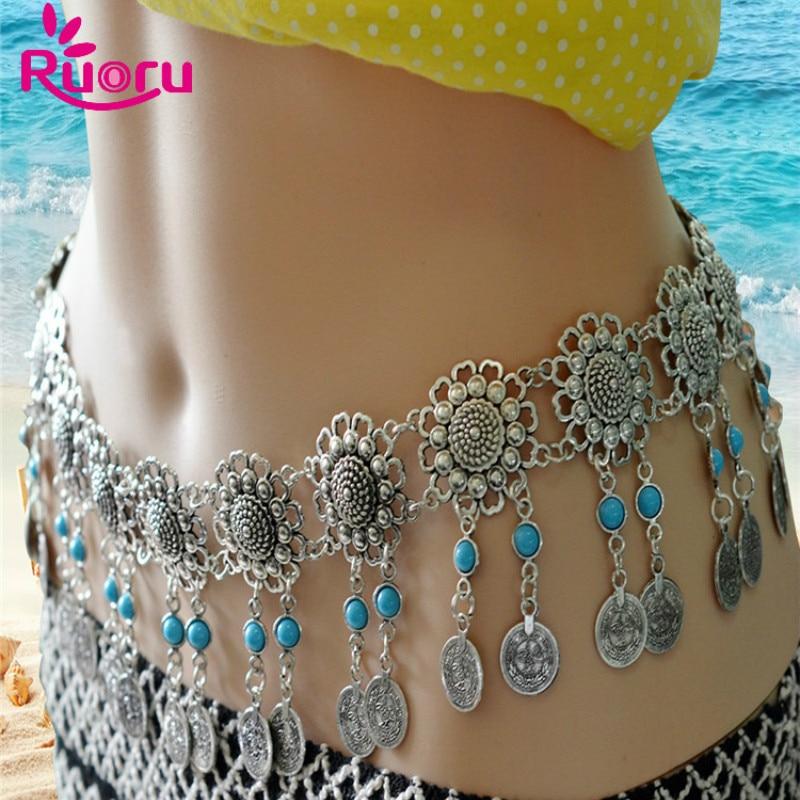 Ruoru Coins Belt Waist-Scarf Belly-Dancing-Costume Jewelry Flower Men for Women