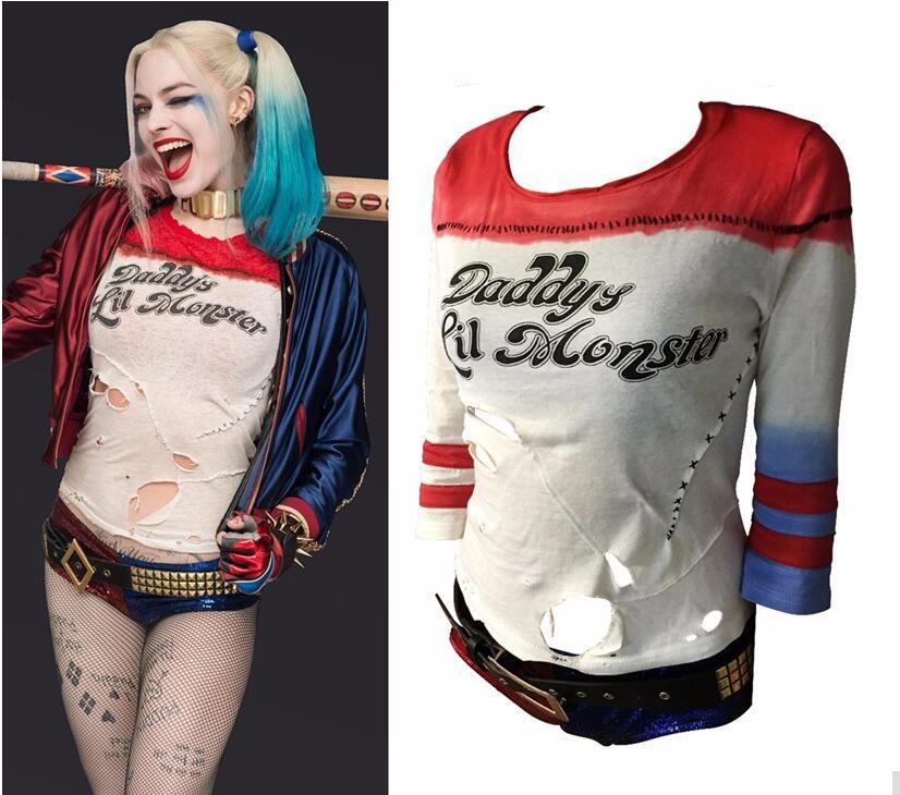 Harley Quinn Costume Cosplay Batman Joker Suicide Squad Harley Quin Shirt Halloween Purim Costume Chamarras De Batman