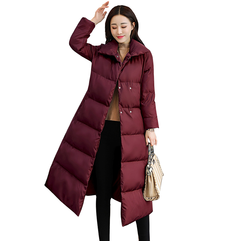 Winter Jacket Women 2018 New Fashion Parka Long Down Jacket Plus Size Long Hooded Duck Down Coat Jacket Women outerwear NW918