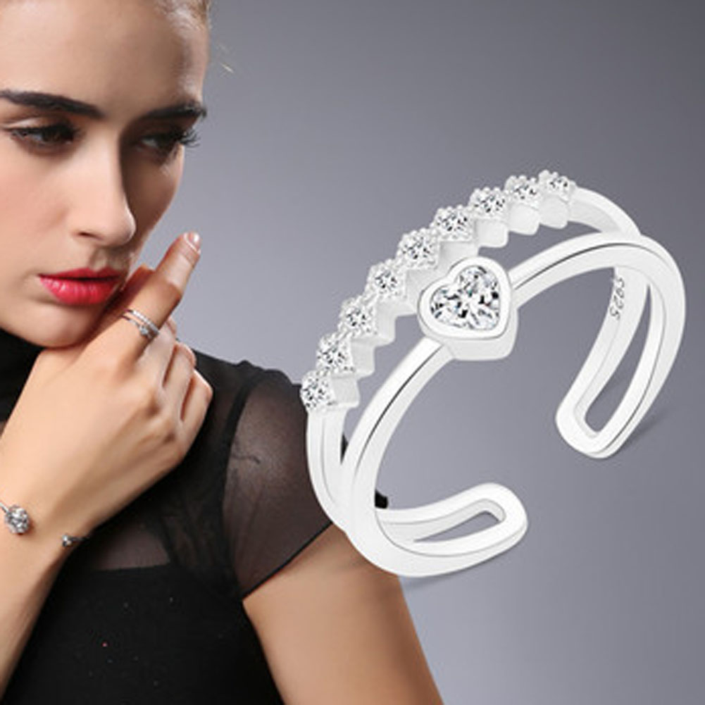 1 pcs crystal heart love shape ring for women gift silver plated