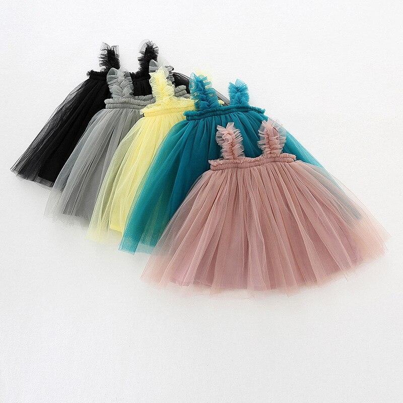Vestido de verão para bebês meninas, vestido de tule tutu vestido de mangas alça de malha vestido de princesa vestido de festa de aniversário dq364