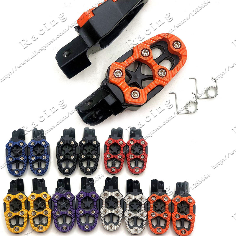 1 Pair Universal 8mm Metal Motorcycle Foot Pegs Pedals Footrests With Spring For Dirt Pit Bike