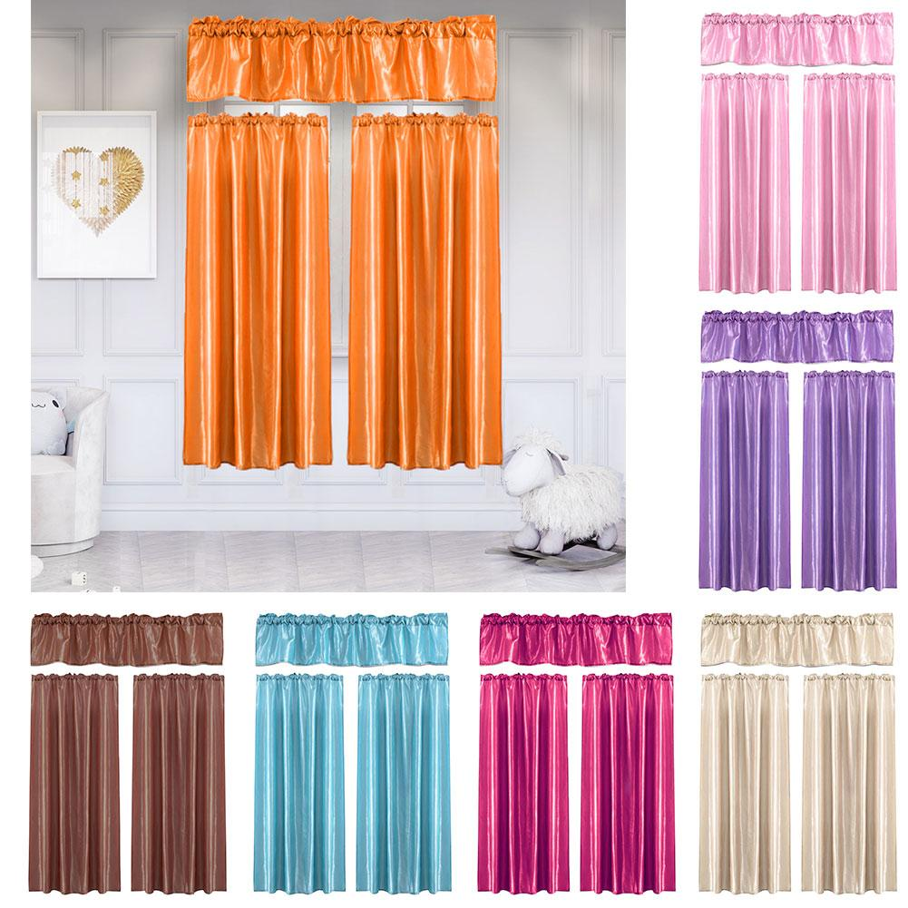 3Pcs Bright Color Window Curtain Living Room Balcony Valance Drape Home Decor