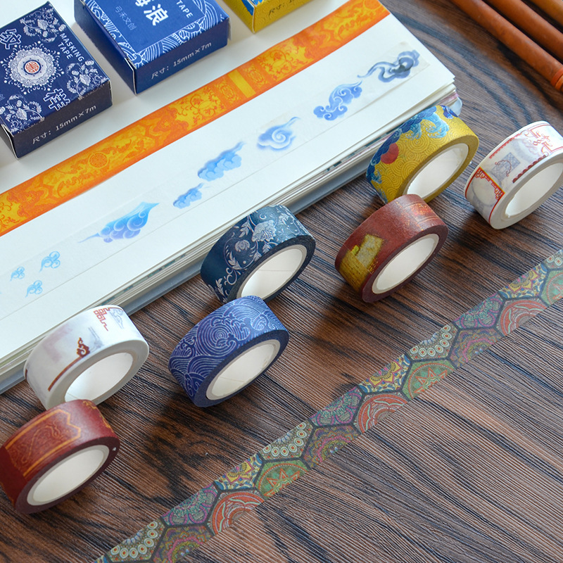 1.5 cm Wide Traditional Pattern Palace Washi Tape Adhesive Tape DIY Scrapbooking Sticker Label Masking Tape shading color washi tape adhesive tape diy scrapbooking sticker label masking tape