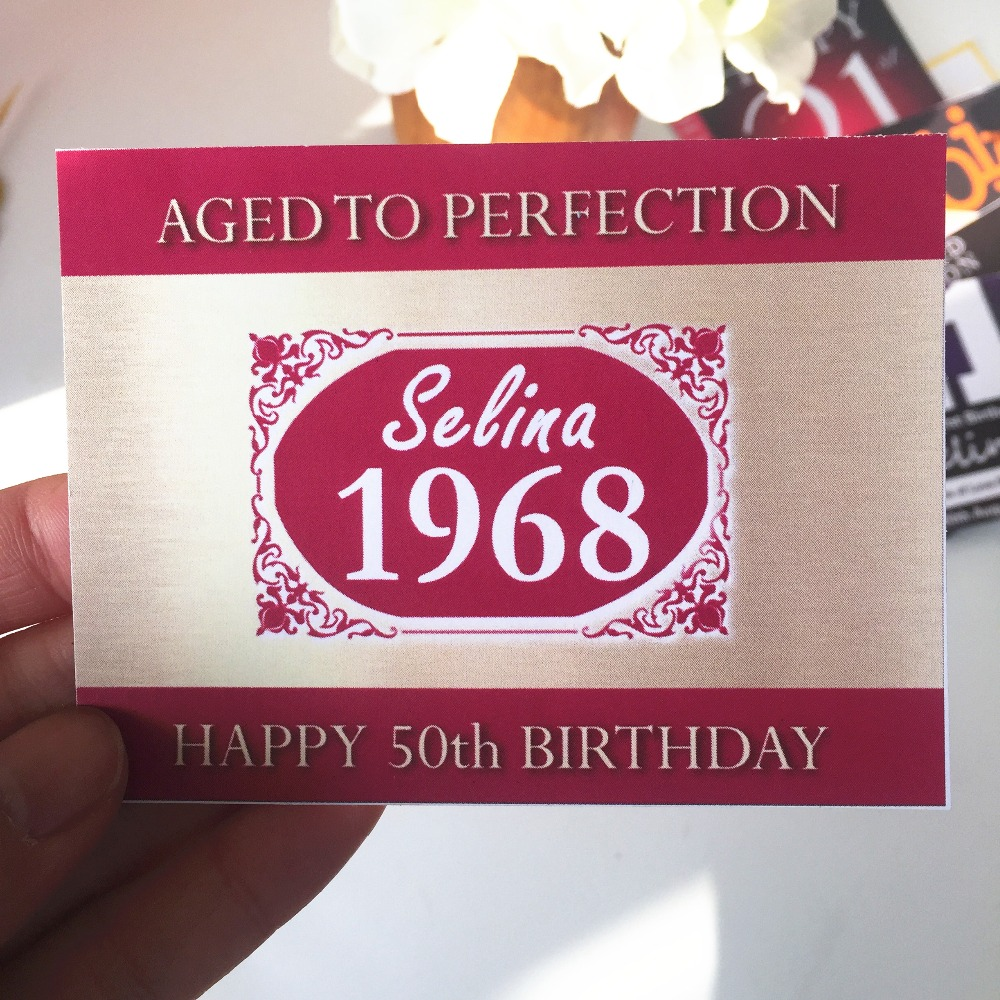 PERSONALIZED BIRTHDAY WINE or CHAMPAGNE LABEL Bottle Stickers ...