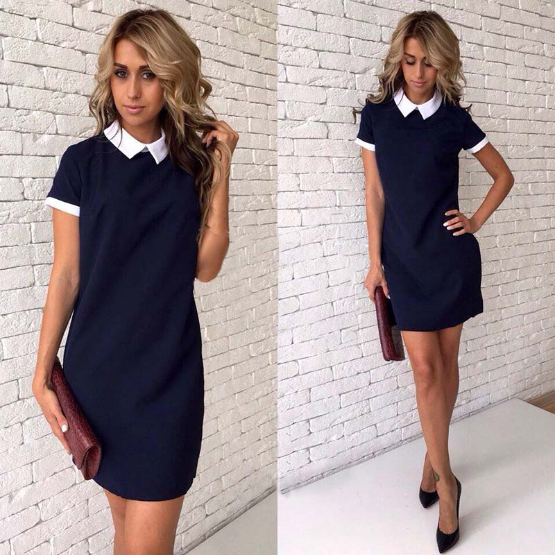 2018 New Women office work white collar OL shirt dress Summer Short sleeve Party Navy blue Pink Straight dress Mini Vestidos