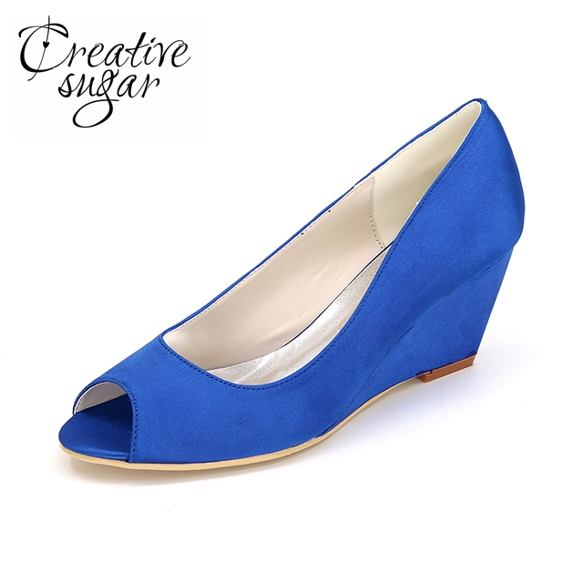 Creativesugar ladies open toe wedges satin evening dress beach wedding bridal bridalmaids peep toe shoes purple blue silver red