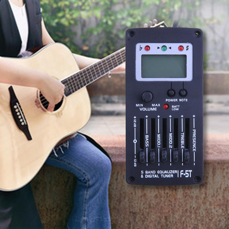 Guitar Pickup 5-Band EQ Tuner 94 X 46 X 20mm Ukulele Acoustic Guitar Pickups Musical Instrument Accessories lt 33 electronic piezo clip on chromatic tuner guitar bass ukulele violin chromatic tuner for musical instrument accessories