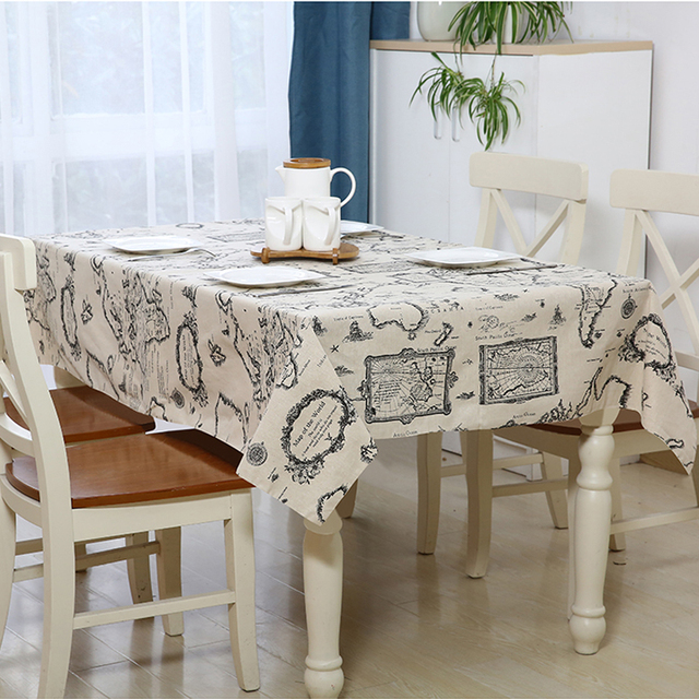 Anti Skid Printing Tablecloth World Map Vintage Pattern Dinning Coffee  Table Cotton Linen Cloth Covering