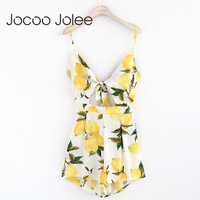 Jocoo Jolee Sexy Deep V Neck Women Jumpsuit Floral Print Lace Up Summer Women Playsuit High