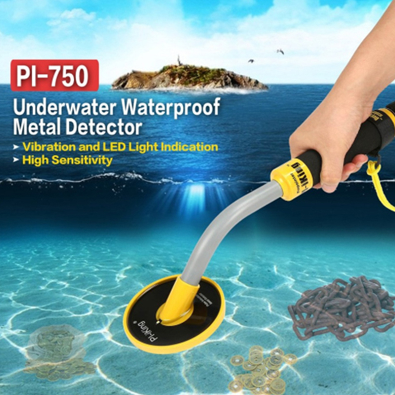 PI 750 Handheld Pulse Induction Underwater Waterproof Metal Detector Gold Coin Treasure Search Vibration Light Alarm Newest
