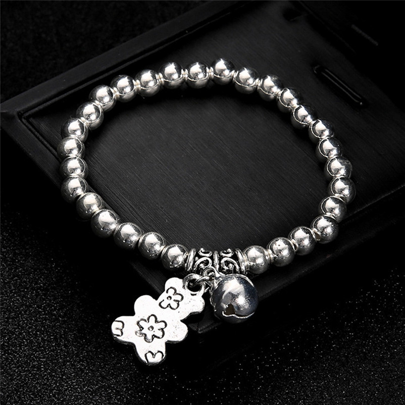NEW Beads anklets for women Ankle Bracelet Double Chain Bell And Bear Anklet Jewelry Beach Sandals Pulseras Tobilleras Y17#N (6)