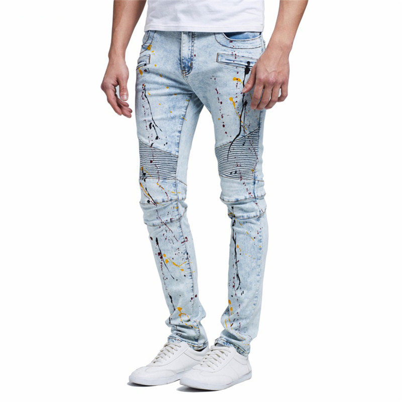 MORUANCLE Fashion Men's Painted Biker Jeans Pleated Printed Motorcycle Denim Trousers Hip Hop Pants For Male Size 29-38