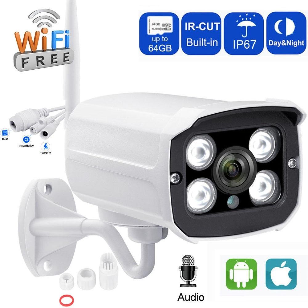 IP Camera 720P Wifi CCTV Camera Outdoor Bullet Camera Audio Record with SD Card Slot Waterproof