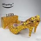 Новинка; женские свадебные туфли с сумочкой в комплекте; свадебные туфли с золотыми кристаллами; комплект из туфель и сумочки для невесты и ... - 1