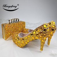 New Womens wedding shoes with matching bags Golden crystal wedding shoes Bride Bridesmaid party dress shoes and purse set