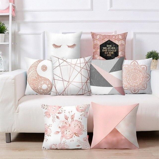 Funda de almohada de pestañas Urijk Rosa oro geométrico piña brillo poliéster sofá funda de cojín decorativo para decoración del hogar 45x45 cm
