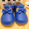 Sping Autumn Baby Girl Squeaky Shoes Blue Butterfly-knot Shoes