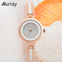 Abrray Small Round Dial Women Watches Stainless Steel Mix White Ceramic Band Quartz Ladies Watch Casual Female Wrist Watches