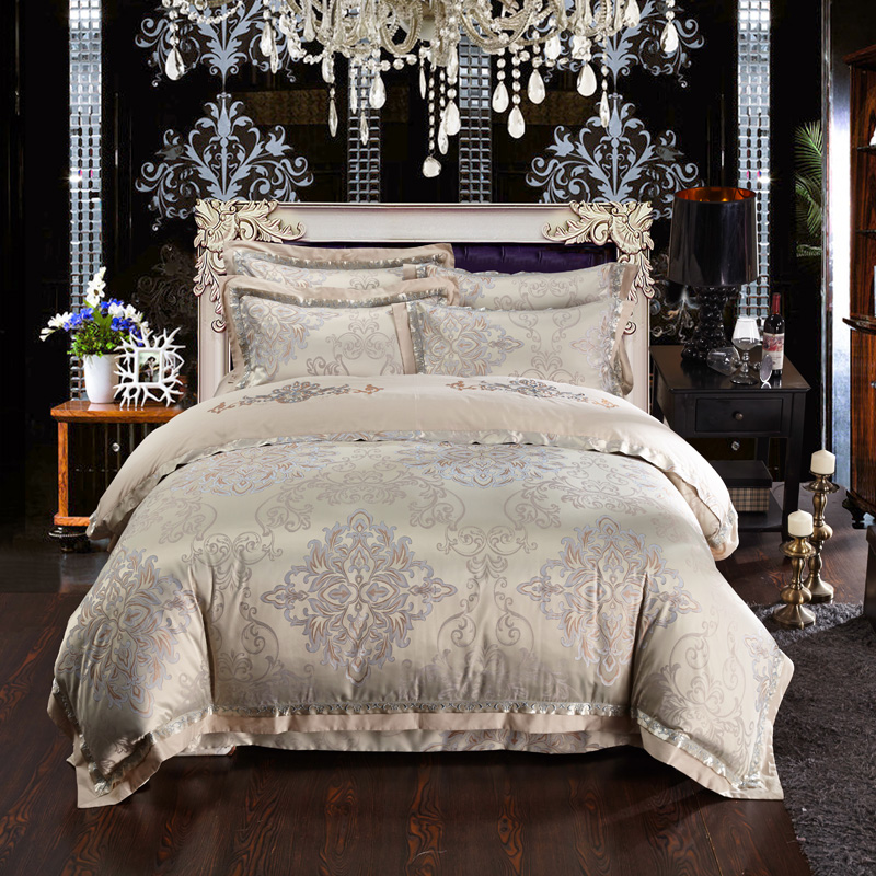 luxury palace jacquard bedding set king size duvet cover bed sheet white wedding bedding europe bed - King Size Bed Sheets