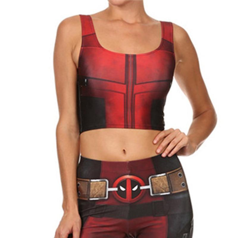 Takerlama Sexy Girl Vest Tank Tops Cosplay Deadpool Superhero Prints Slim Fitness Sleeveless Women Cropped Tops Printed Leggings