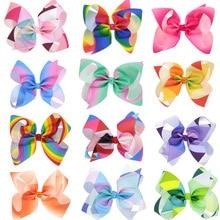 12pcs/lot latest Grosgrain Ribbon 6'' Hair Bows With Alliator Clips Cartoon Boutique Rainbows hairbow 6 inches bows aisi hair t27613 6 inches