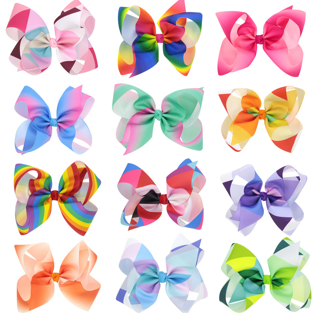 12pcs/lot latest Grosgrain Ribbon 6 Hair Bows With Alliator Clips Cartoon Boutique Rainbows hairbow 6 inches bows