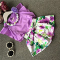 Hot sell girls elegant clothes set floral clothing sets with necklace purple shirt + flower pants high quality children clothes
