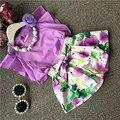 Sistemas de la ropa muchachas de la venta caliente elegante ropa set floral con collar púrpura de la camisa + pantalones de la flor de alta calidad ropa de los niños