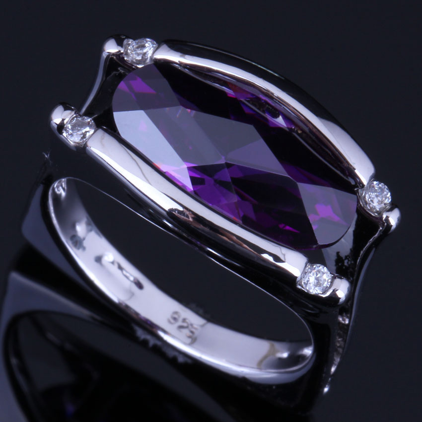 Charming Oval Purple Cubic Zirconia White CZ 925 Sterling Silver Ring For Women V0661