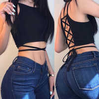 Summer 2019 Sexy party tops Backless Hollow Out Fitness Sleeveless Short Crop Tops Camisoles streetwear black lace up Crop Tops