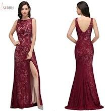 2019 Sexy High Split Lace Mermaid Long Prom Dresses Sleeveless Applique Gown Gala Dress Vesitdo de festa