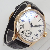 Valentines 44mm Parnis White Dial Rose Golden Plated Case Roman Numbers Luxury Brand 6498 Hand Winding