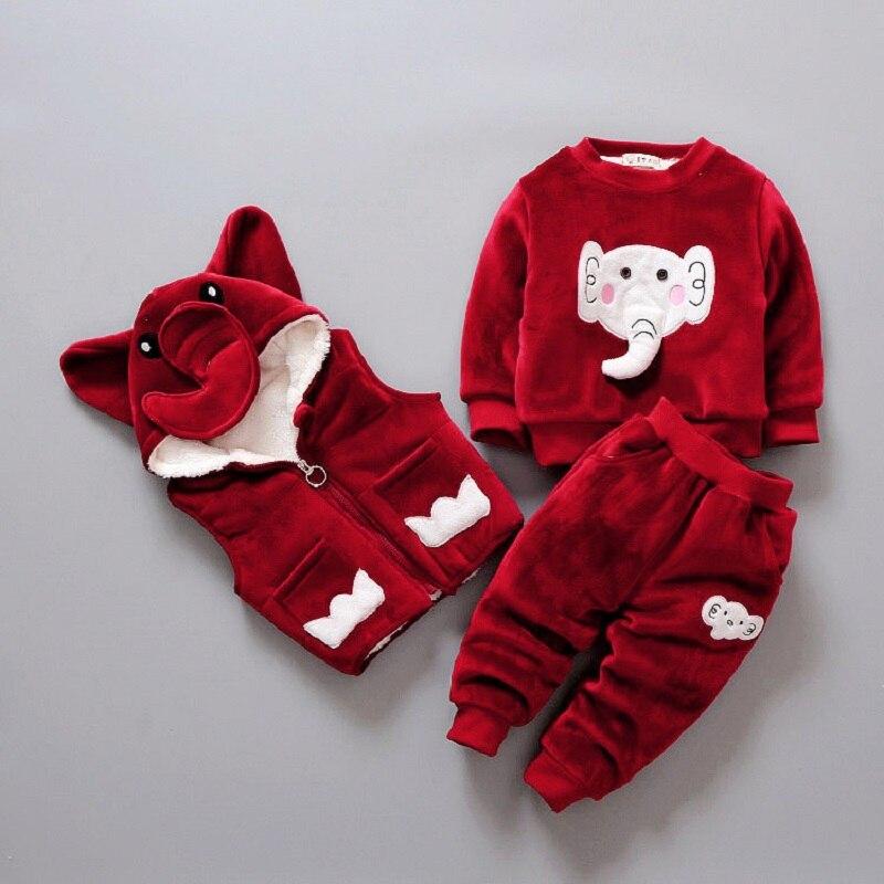 3 Pz 2018 Bambini di Inverno Set Delle Ragazze Dei Ragazzi Elefante Pullover + Pants + Gilet Con Cappuccio Abbigliamento Per Bambini Più Spessa Outwear Caldo