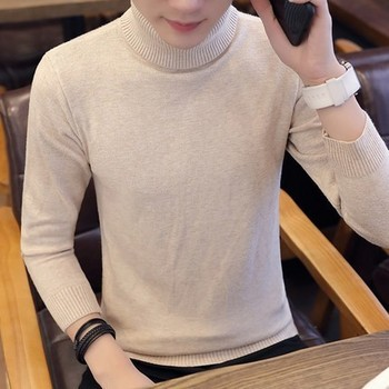 2019 Autumn Winter New Men's Turtleneck Sweater Solid Color Knitted Pullover Sweaters Male Casual High Neck knitwear M-3XL 1