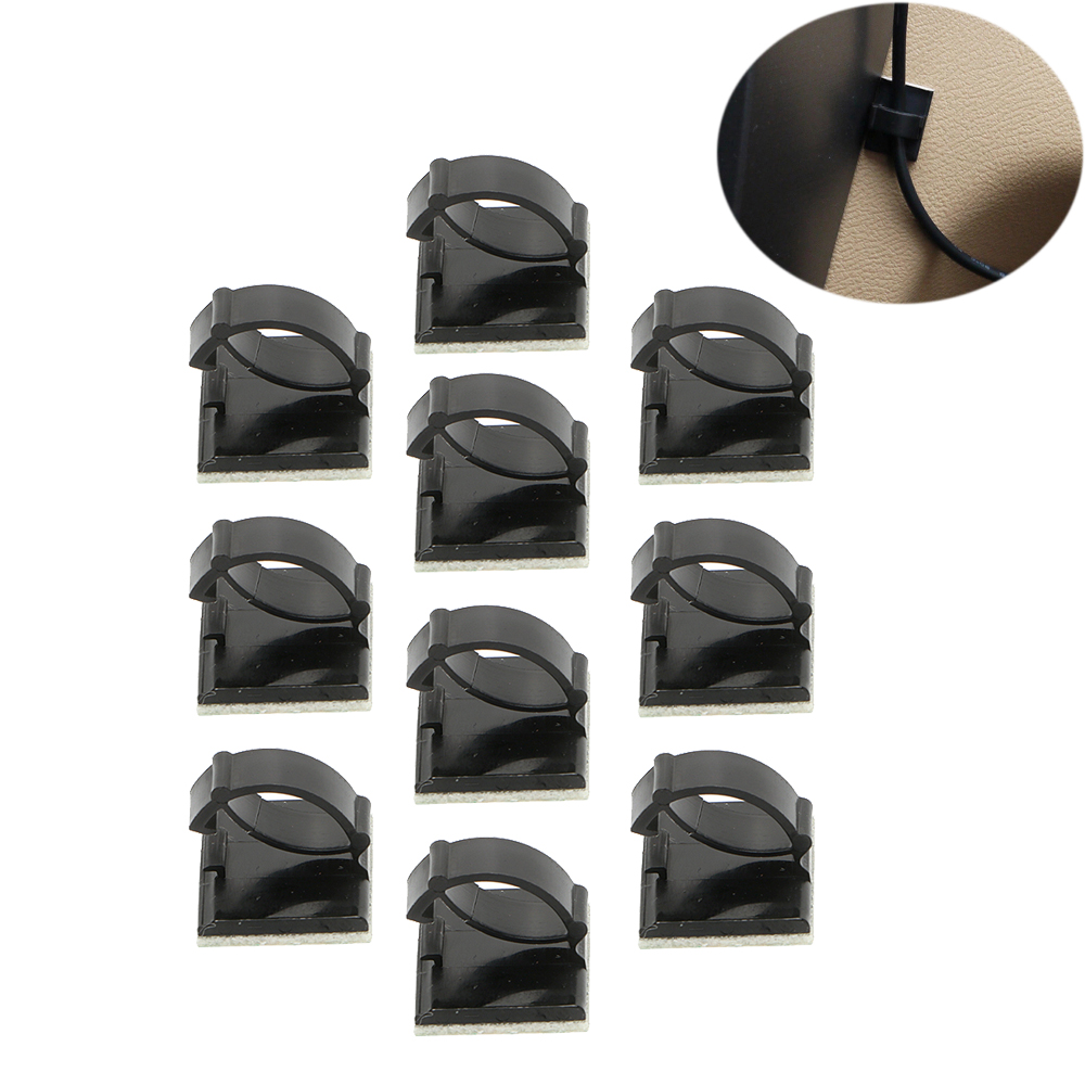 10Pcs/Set Car Cable Mount Clamp Clip Wire Tie Oragnizer Stowing Tidying Auto Fastener Se ...